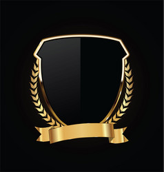 gold and black shield with gold laurels 12 vector image