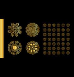 Gold mandala on black background vector