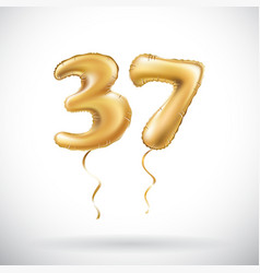 Golden number 37 thirty seven metallic balloon vector