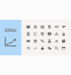 Group of twenty economy and business icons vector