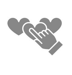Hand puts three hearts rating gray icon customer vector