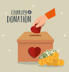 Hands with hearts charity donation vector