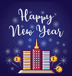 happy new year greeting with fireworks vector image