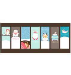 happy winter set template card vector image