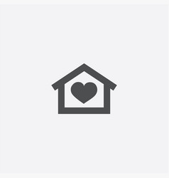 heart home icon vector image