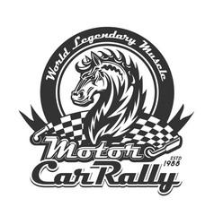 horse and racing flag t-shirt print motor sport vector image