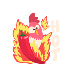 Hot spicy chicken fire rooster creative logo vector
