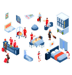 Hotel color isometric set vector