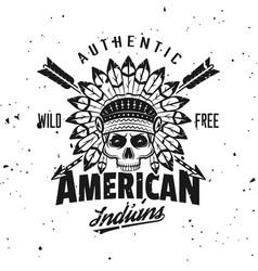 indian chief skull vintage emblem vector image