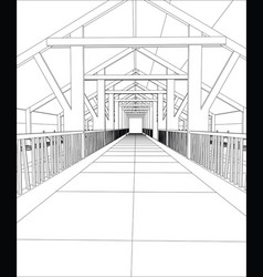 industrial building wireframe for abstract vector image