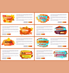 Info labels with signs price reduction autumn fall vector