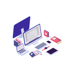 isometric 3d electronic items with laptop tablet vector image