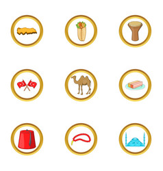 Istanbul icons set cartoon style vector