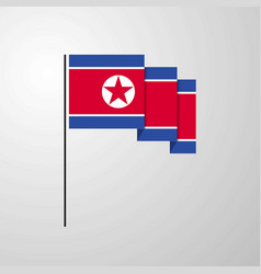 korea north waving flag creative background vector image