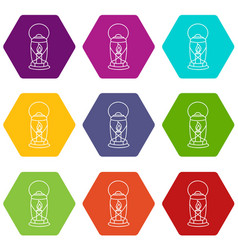 lantern candle icons set 9 vector image
