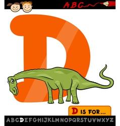 letter d with dinosaur cartoon vector image