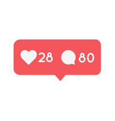 Like and comment notification button icon social vector