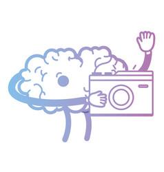 Line kawaii happy brain with digital camera vector