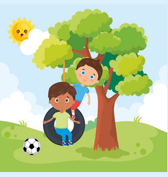 Little boys playing on the park vector