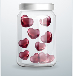 Love bottle jar with pink hearts inside realistic vector