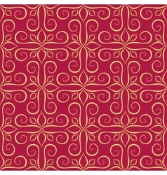 Luxury Golden Seamless Pattern on Red vector image