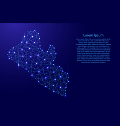 Map of liberia from polygonal blue lines vector