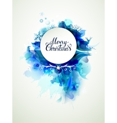 merry christmas inscription on abstract winter vector image