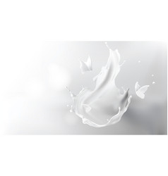 milk splash crown shape and butterfly silhouettes vector image