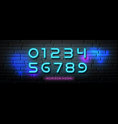 neon light number collections design vector image