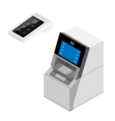 new modern smart pos terminal and atm isolated on vector image