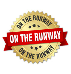 On the runway round isolated gold badge vector
