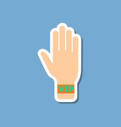 Paper sticker on stylish background hand vip vector