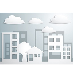 paper town and buildings vector image