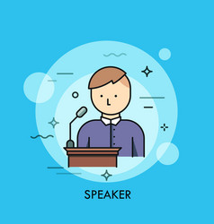 person in purple shirt standing at lectern with vector image