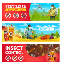 pest control banners with insects exterminators vector image