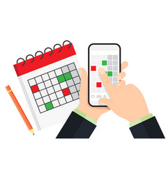 Planning on smartphone in calendar app vector