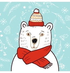 Polar bear in red hat vector