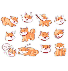 Puppy muzzle and funny dog mascot emoji sticker vector
