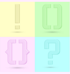 question mark curly braces exclamation point 3d vector image