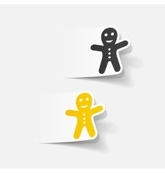 realistic design element gingerbread man vector image