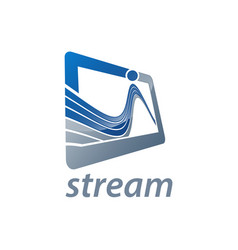 rectangle stream logo concept design symbol vector image