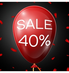 Red Baloon with 40 percent discounts over black vector