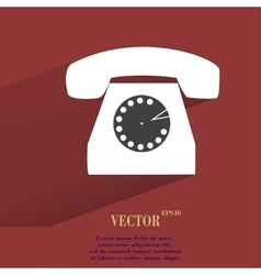 Retro telephone Flat modern web button with long vector image
