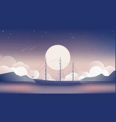 Sailboat in ocean with bright moon vector