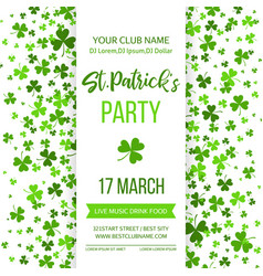 Saint patrick s day poster with green four and vector