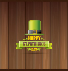 saint patricks day label or poster with green hat vector image