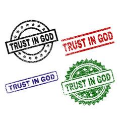 Scratched textured trust in god stamp seals vector