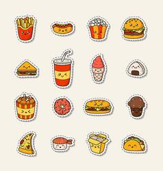 Set of cartoon doodle icons junk food vector