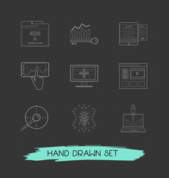 set of webdesign icons line style symbols with bug vector image