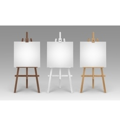 Set of Wooden Easels with Blank Square Canvases vector